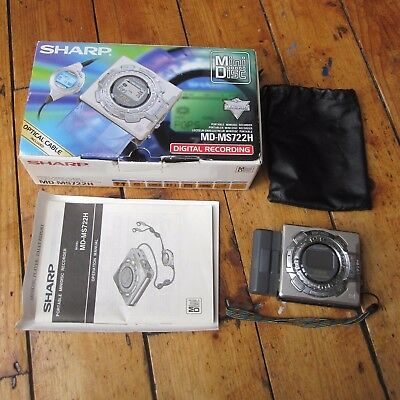 Sharp MD-MS722H Minidisc Player Recorder Personal Portable Silver Tested Boxed