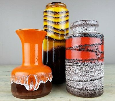 Set of 3  FAT LAVA West Germany Vases by Scheurich Jasba in vibrant glazes