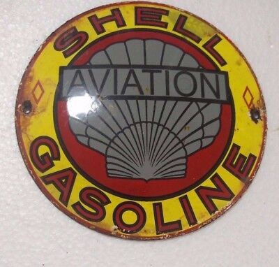 """Porcelain Sign Shell Aviation Gasoline Size- 6"""" Inch Dia Approx"""