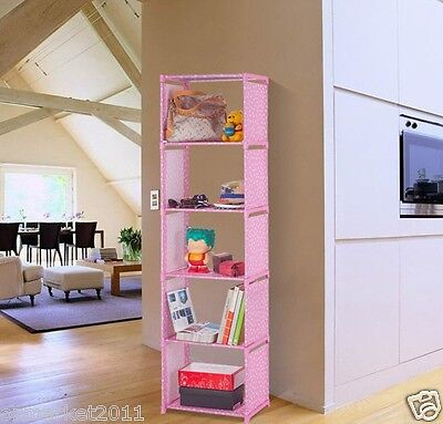 #3 Pink-Red Dots 6 Layers Steel Frame Non-Woven DIY Bookshelf /Storage Rack