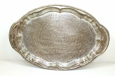 1900s Antique Vintage Beautiful Hand Engraved Oval Shape Brass Tray/Plate #001