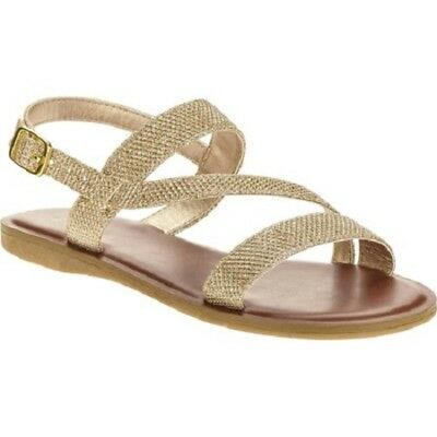 Faded Glory Girls' Wave Strap Sandal Gold Glitter Various Sizes NWT
