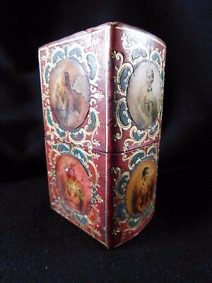 Antique Moroccan Leather Sewing / Etui Case, Portraits Of Ladies