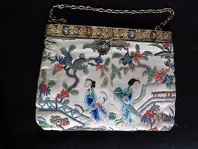 Antique Chinese Embroidered Silk Bag / Purse , Gilt Metal With Jewels Frame