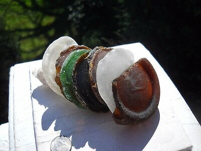 8 pieces of all natural sea glass bottle bottoms.White,brown,green,amber.