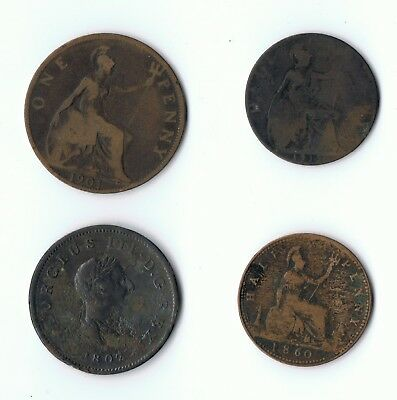Four old brtish coins