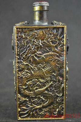 China old Bronze handwork dragon phoenix useable snuff bottle