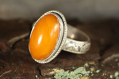 OLD Natural 6.09gr. Butterscotch Egg Yolk Baltic Amber stone SILVER Ring A378