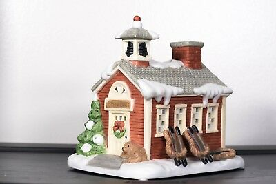 Partylite Porcelain School House w/ Candle Fragrance Warmer