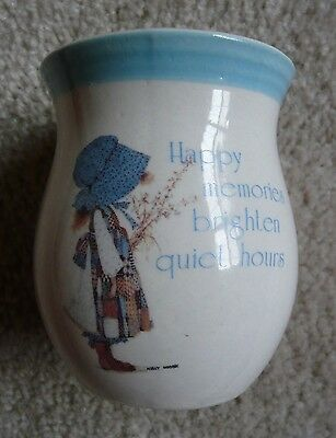 Vintage 1978 Holly Hobbie Blue Girl Stoneware CANDLE ~ Was Never Lit