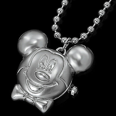 DBS Micky Mouse Pendant Quartz Pocket Necklace Watch Montres Gift