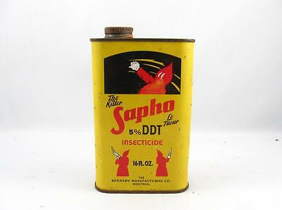 Vintage The Killer Sapho 5% Ddt Insecticide Tin Can Montreal