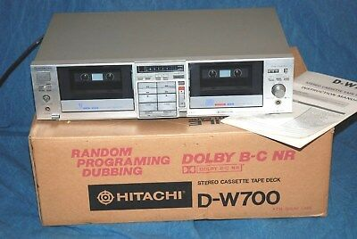 Hitachi D-W700 Stereo Dolby B-C NR Cassette Tape Deck - Original Box and Manual