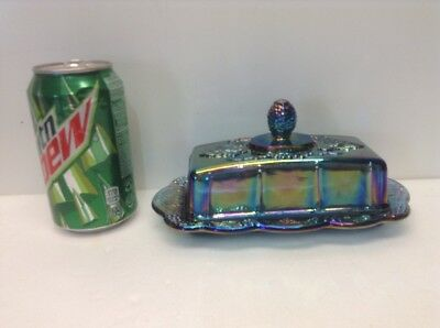 Indiana Glass Iridescent Blue Carnival Harvest Grape Covered Butter Dish