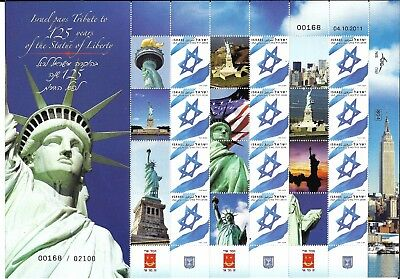 ISRAEL 2011 125th YEARS STATUE OF LIBERTY FULL SHEET 12 STAMPS WITH TABS. MNH.