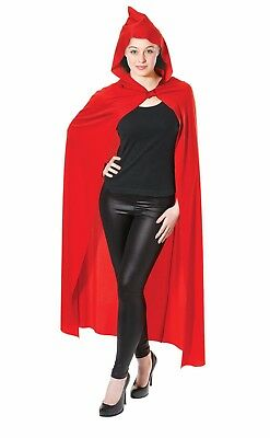Deluxe Red Hooded Long Cloak Cape Long Vampire Halloween Ladies Mens Fancy Dress