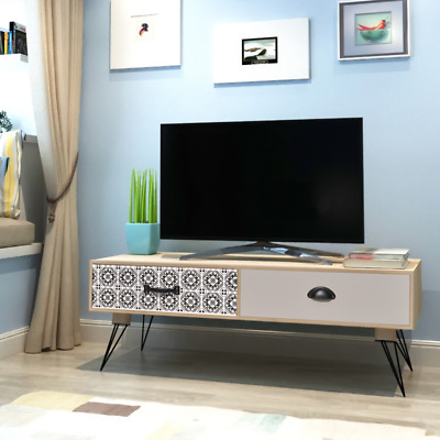 Retro TV Cabinet Stand Low Sideboard Storage Unit Steel Pin Legs Trendy