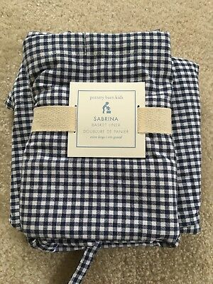 Two (2) NEW Pottery Barn Sabrina X-LARGE Blue Gingham Basket Liners