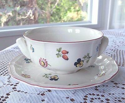 Villeroy & Boch ~ PETIT FLEUR ~ Handled Soup Bowl with Underplate