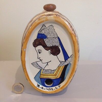 Vintage HB Quimper Ceramic Barrel with Breton Lady in traditional costume.