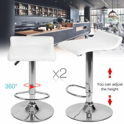 2x PU Leather Bar Stool Kitchen Dining Home Chair Gas Lift White Padded AUS