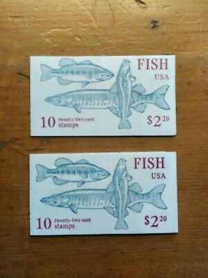 Fish 2 Booklets of Ten 22© Stamps Lot Unexploded