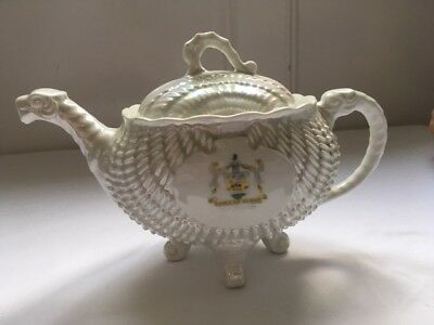 Amazing Wallasey Coat of Arms White Lustre Teapot - Sea Monster Shaped