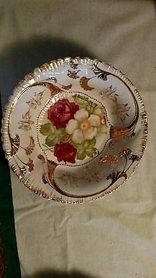 Floral Porcelain Bowl Gold Unmarked Os Related To Rs Prussia