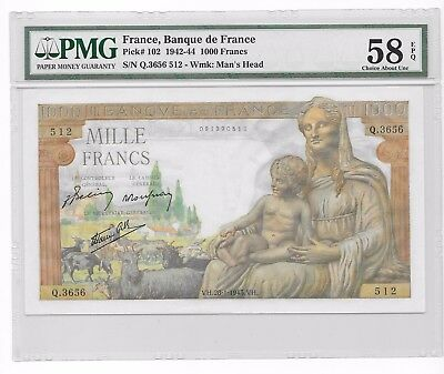 France 1000 Francs 1942-1944 .PMG 58 EPQ .AUNC. Scarce
