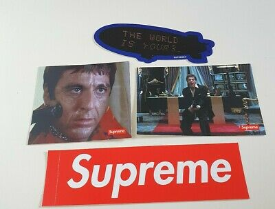 FW17 Supreme x Scarface The Newest Stickers Pack Of 4 Box Logo Blimp Gun sticker