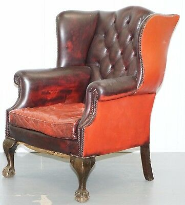 Distressed Chesterfield Wingback Armchair Claw & Ball Restoration Reupholstery