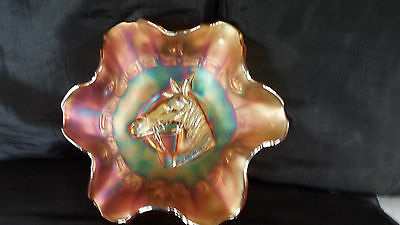 carnival glass plate with horses head