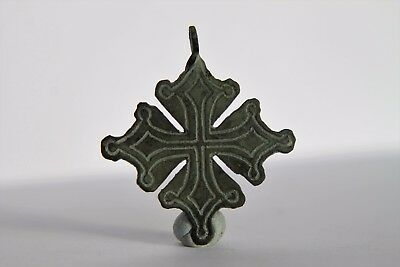 Medieval, Crusaders period Bronze Cross – Pendant ca. 1300 AD