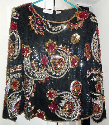 Vintage 80s Laurence Kazar Beads Sequins Glam Black Red Gold Silver Silk Top XL