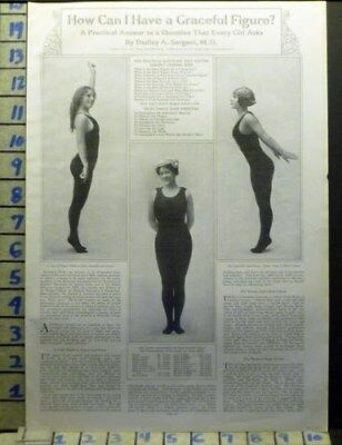 1912 Woman Harvard Radcliffe Gym Sexy Girl Health Beauty Vintage Art Ad  Av50