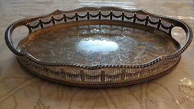 """Vintage Viners Of Sheffield Gallery Serving Tray Platter Drinks England 14.5"""""""
