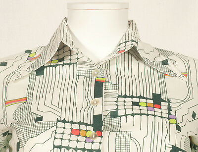 70's French Vintage Print Party Shirt Uk 10