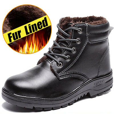 Mens work safety steel toe Fur Lined ankle boots mechanic Anti-piercing shoes