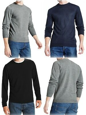 New Mens Ex M&S Crew Neck Jumper Cashmilon Long Sleeve Pullover Sweater Sz S-XXL