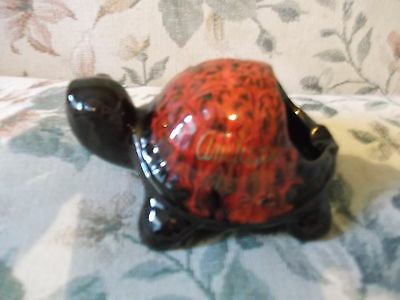Canadian Glazed Pottery Souvenir Turtles Ashtray Amherst Nova Scotia 6 x 4 x 3