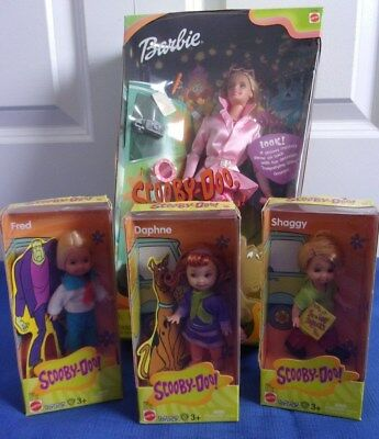 Scooby Doo Barbie Doll & Daphne Fred Shaggy 2000 Good Condition NRFB Lot-4 Dolls