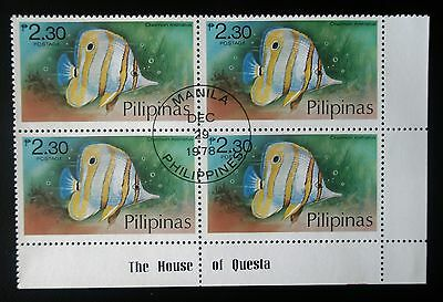 (H145) Philippines block of 4 stamps 1978 Scott 1382 pre-canceled OG