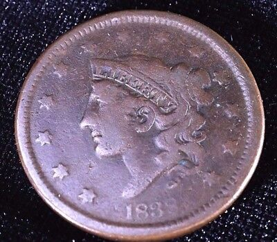1838 Large Cent Coronet Liberty Head - 179 Yr old Coin -CHOICE Detail!   (A3035)