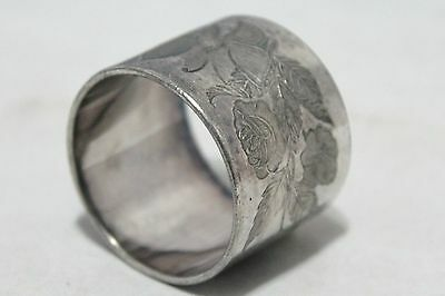 Antique Napkin Ring - Roses With Flying Bee Engraving
