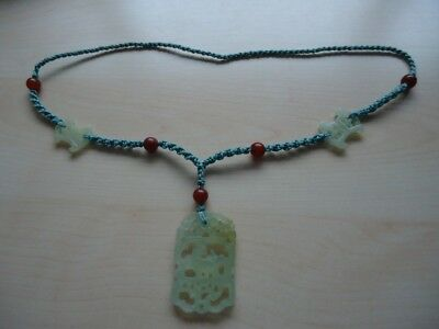 """Green String Green probably Jade & Amber Pendant Jewellery 26"""" Necklace"""