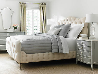 MARCELLO 5 pieces French Country Bedroom Set Furniture w/ Beige Linen Queen Bed