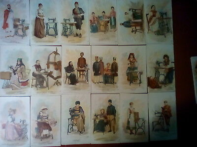 Singer Sewing Trade Cards, Complete Set with Box 36, circa 1892