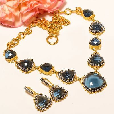 """Blue Sapphire, White Topaz Gold Plated Handmade Necklace 17.99""""& Earring (51)"""
