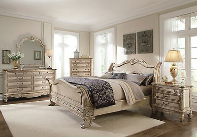 GRANDE PALACE 5pcs Bedroom Set Furniture Traditional Antique White w/ King Bed