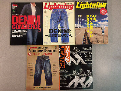 Lot of 5 Japanese Clothing Magazines, Jeans, All About Vintage Denim, Denim